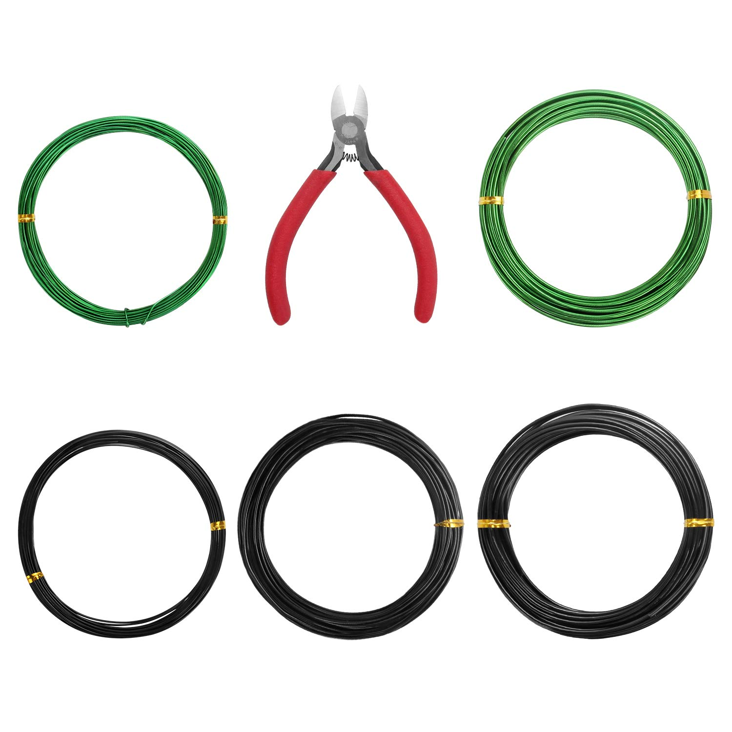 A+Selected 5 Pack Tree Training Wire with Cutting Plier, 32 Feet / 10 Meter Craft Aluminum Garden Wire for Holding Bonsai Branches and Small Bonsai Trunks (1.0mm, 1.5mm, 2.0mm, Each Size 10 m)