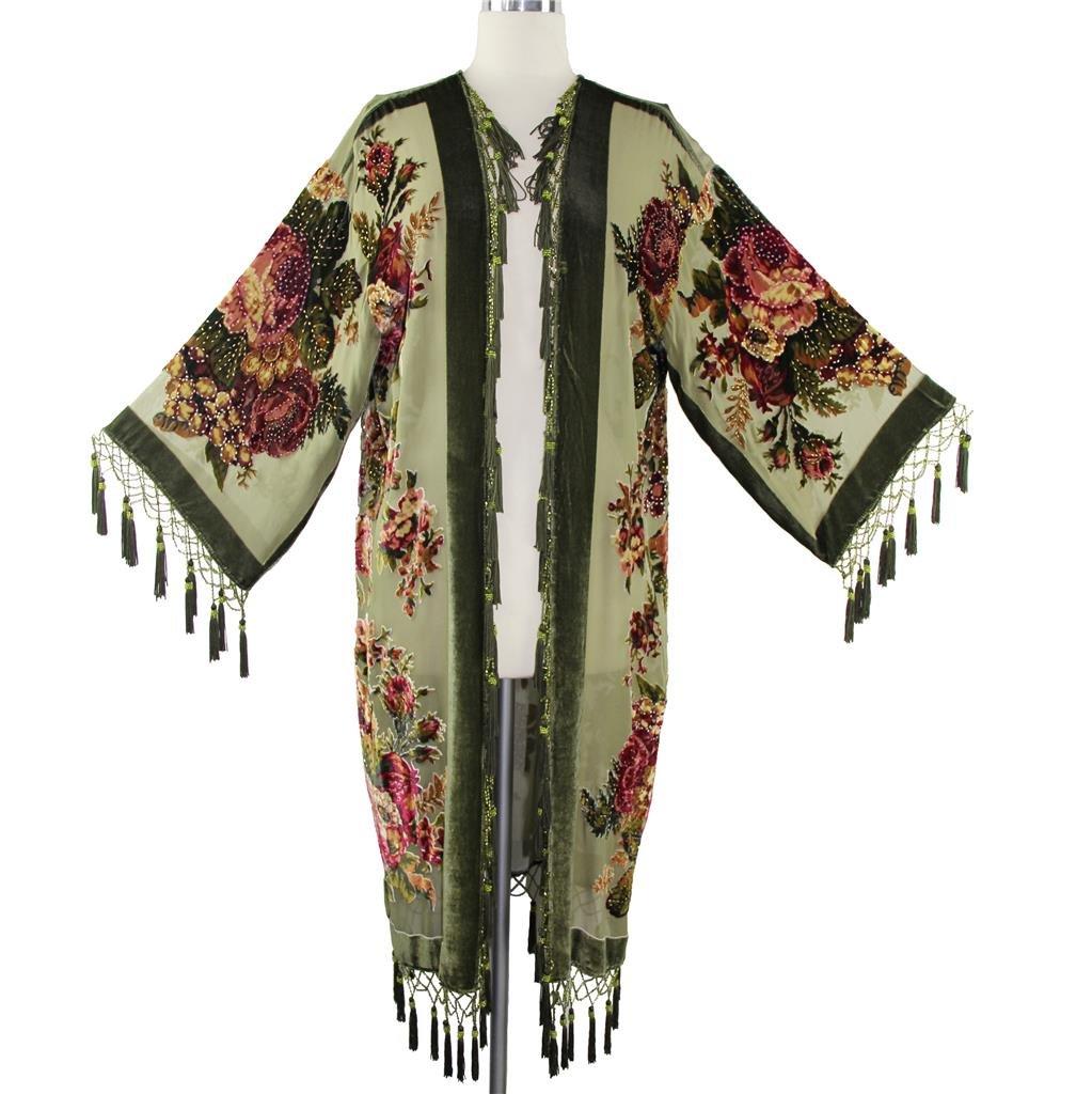 Aris A Women Vintage Floral Silk Burnout Velvet Handmade Beaded with tassels Duster Kimono by Aris A