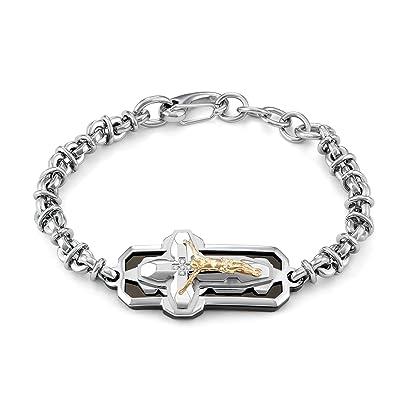 Amazon Com Silver Phantom Jewelry Mens Two Tone Diamond Crucifix