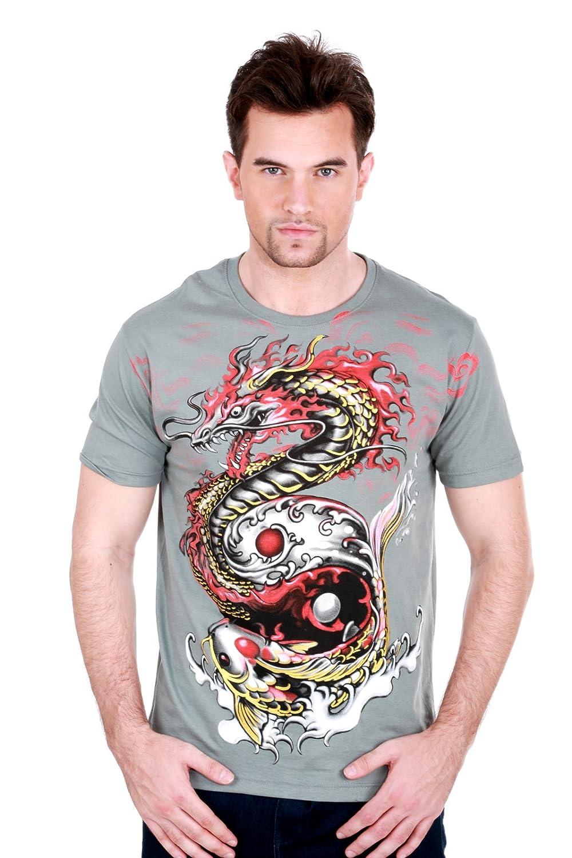Amazon.com: Koi Fish Dragon Yin Yang Japanese Men T-Shirt mma ...