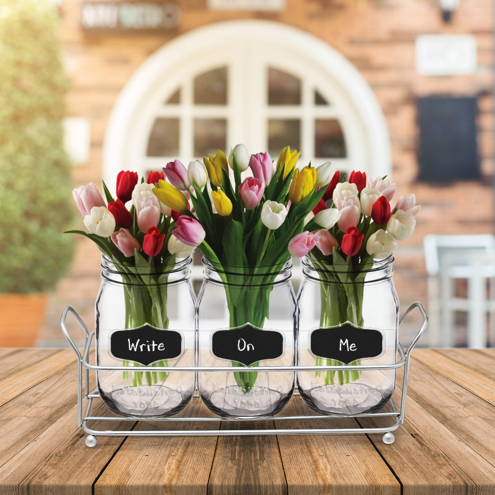 3-pc Mason Jar Flatware Caddies - 17 Oz. Vintage Clear Glass Utensil Organizer with Black Chalk Label on Metal Caddy with Handles - Lightweight Space-Saver Home and Party Drinkware Set by Emenest (Image #2)
