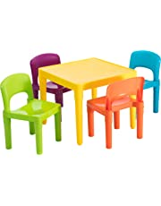 Lenoxx Kids 5 Piece Colourful Plastic Table & Chairs