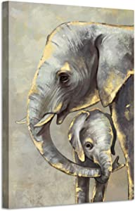 sechars Elephant Canvas Wall Art Vintage Elephant Mom and Baby Love Painting Art Prints on Canvas Artwork Modern Animal Picture Wall Decor for Home Living Room Bedoom Ready to Hang 24x36inch