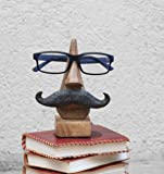 Witty Hand Carved Wooden Eyeglass Spectacle Holder with an Amusing Mustache Home Decorative Store Indya Christmas Thanksgiving Gifts