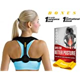 Back Posture Corrector for Women and Men | Back Brace for Shoulders and Neck Pain Relief | Upper & Lower Back Support | Help Reduce Slouching, Hunching | Easily Adjustable | Incl. eBbook & Loop Band
