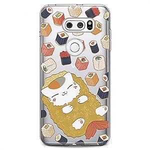 Cavka TPU Case Replacement for LG Stylo 6 K61 K51S K42 K30 K20 Stylo 5 K40 K11 K10 K8 Food Clear Kawaii Cat Design Print Kids Girls Fish Cute Women Cute Flexible Silicone Slim fit Soft Sushi Pattern