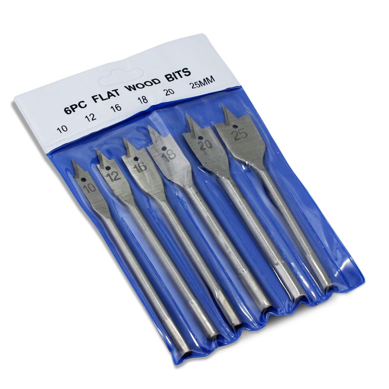 Silver Aussel Jeu de forets plats en bois de 6 pi/èces 10,12,16,18,20 /& 25mm Fraises /à bois