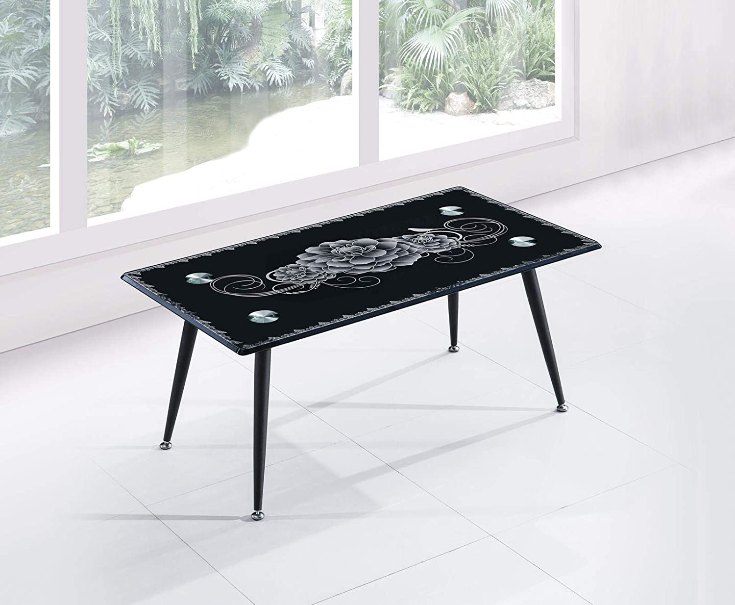 - Furniture Express Black Tempered Glass Coffee Table With Metal