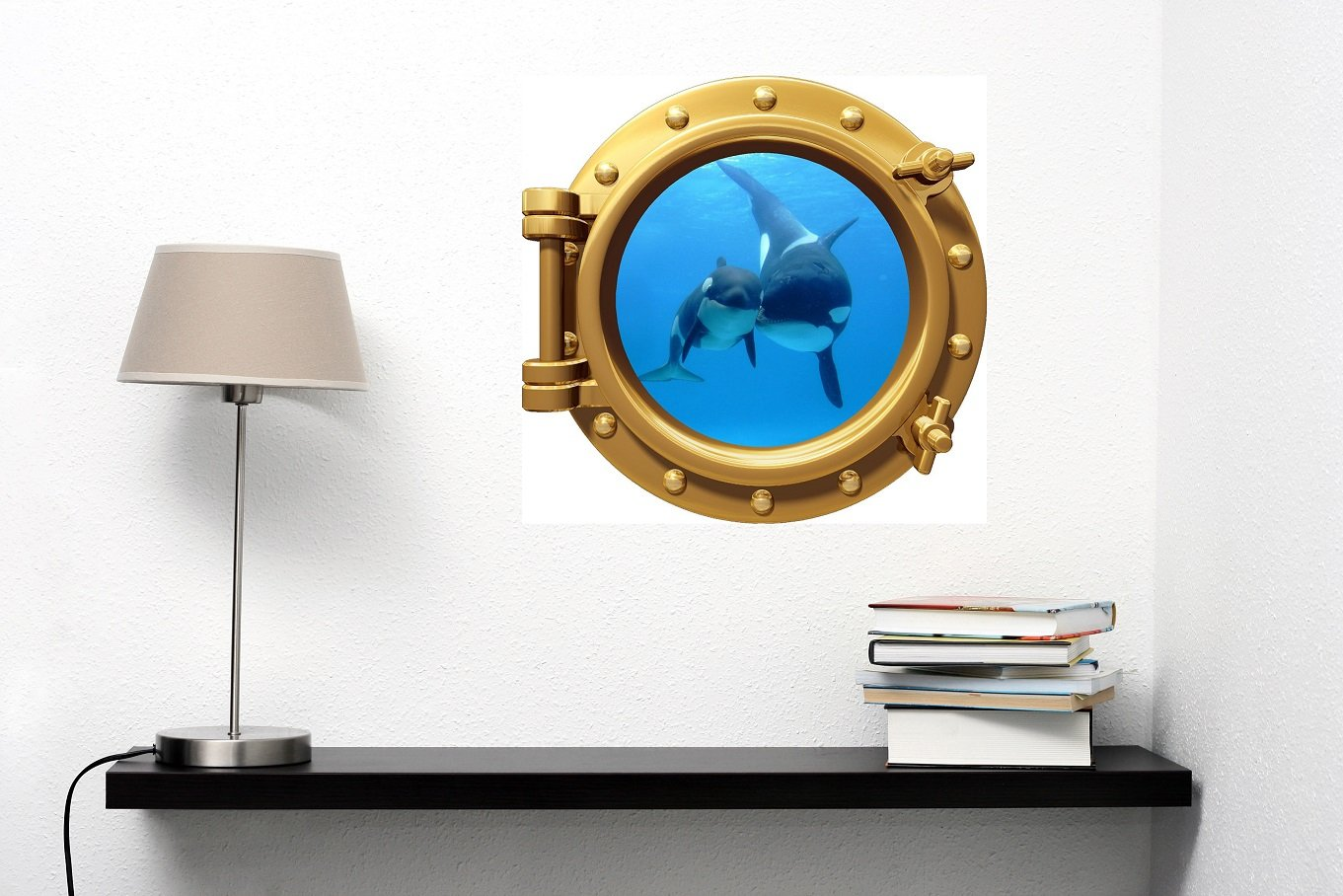 12'' PortScape WALL DECAL Killer Whale & Cub 1 BRONZE Vinyl Sticker for Kids Room Peel Stick
