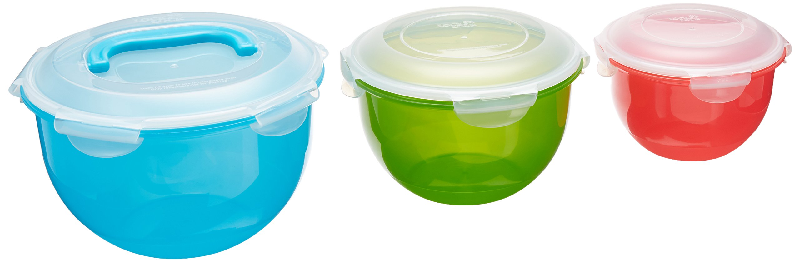 LOCK & LOCK 6 Piece Nesting Color Salad Bowl Set with Handle, Blue/Green/Red