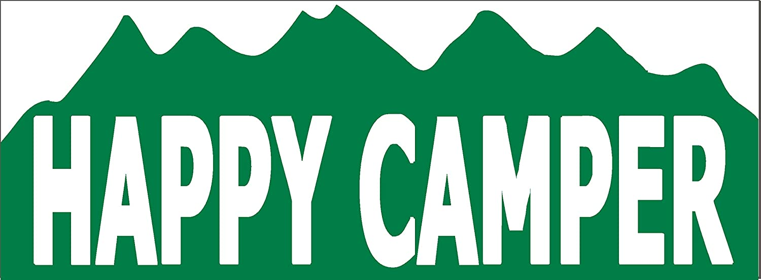 Amazon com happy camper funny camping bumper sticker 9 x 3 5 vinyl sticker decal everything else