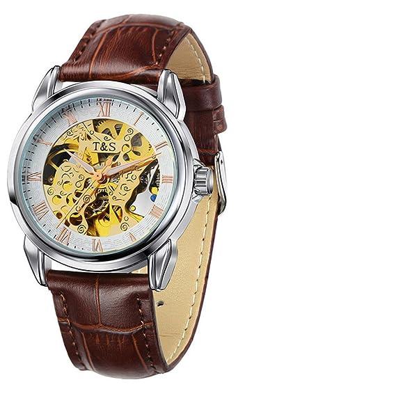 Poesía cutáneo hueco correa impermeable de los hombres reloj automático relojes relojes moda casual hombres ver-B: Amazon.es: Relojes