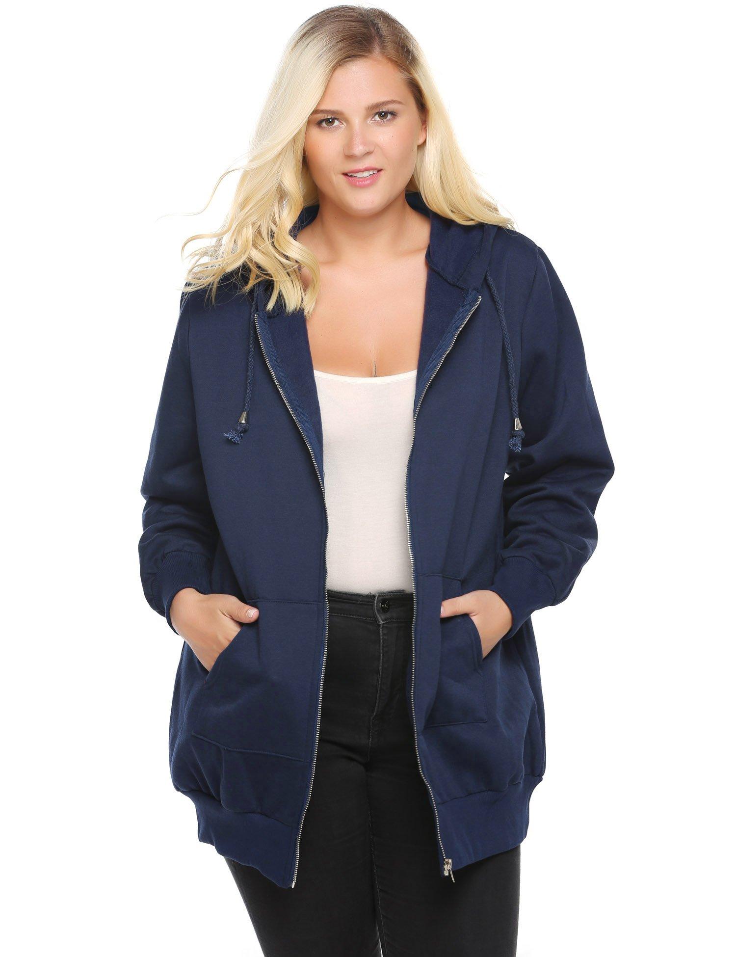 Involand Women Casual Zip up Fleece Hoodies Tunic Sweatshirt Long Hoodie Jacket