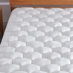 """Murpheeya Cooling Cotton Mattress Pad Topper Bed Cover Protector with Deep Pocket Fits Up to 8""""-21"""" for Queen King Twin Full California King"""