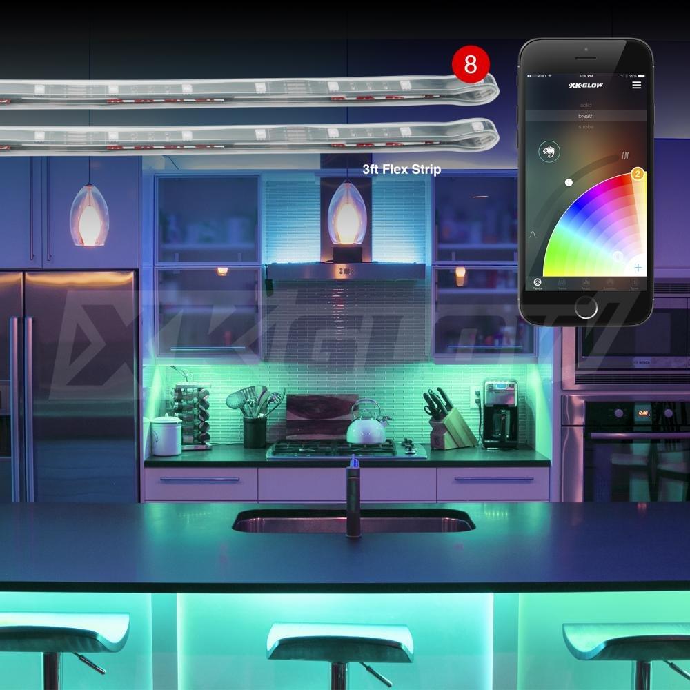 2nd Gen 8pc 3ft Flex Strips XKchrome App Control Home Indoor & Outdoor LED Accent Light Kit for Furniture Kitchen Bedroom Living Room Holiday Christmas Garden Garage Bathroom Deck Office Gym Basement