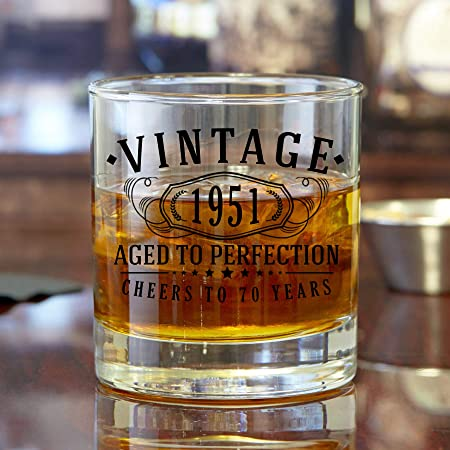 Vintage 1951 70th Birthday Traditional Whisky Glass