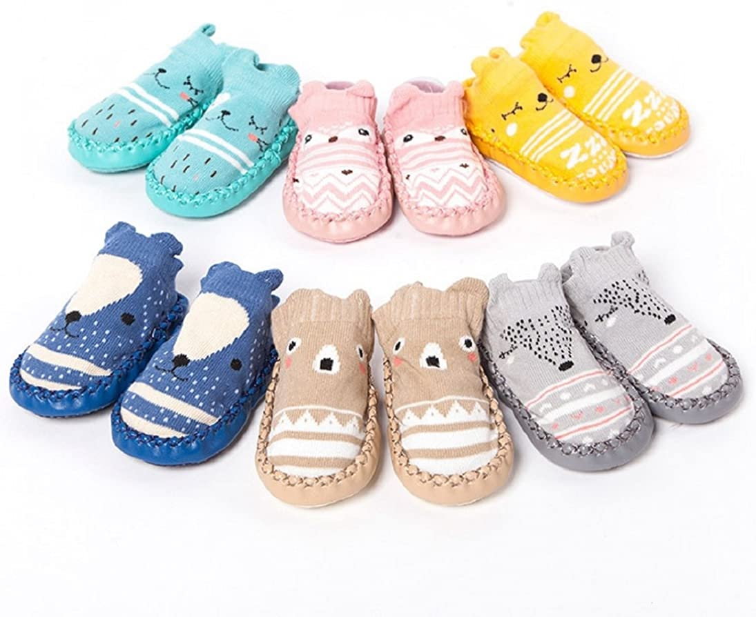 Voberry Cartoon Baby Boys Girls Anti-slip Boots Slippers Shoes Non-Skid Slipper Socks