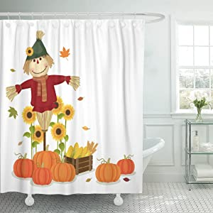 Emvency Shower Curtain Fall of Autumn Harvesting Cute Scarecrow and Pumpkins November Waterproof Polyester Fabric 60 x 72 Inches Set with Hooks