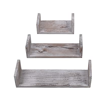 Attrayant Yankario Rustic Floating Shelves Wall Mounted Set Of 3, Torched Wood  Farmhouse Storage Shelf For