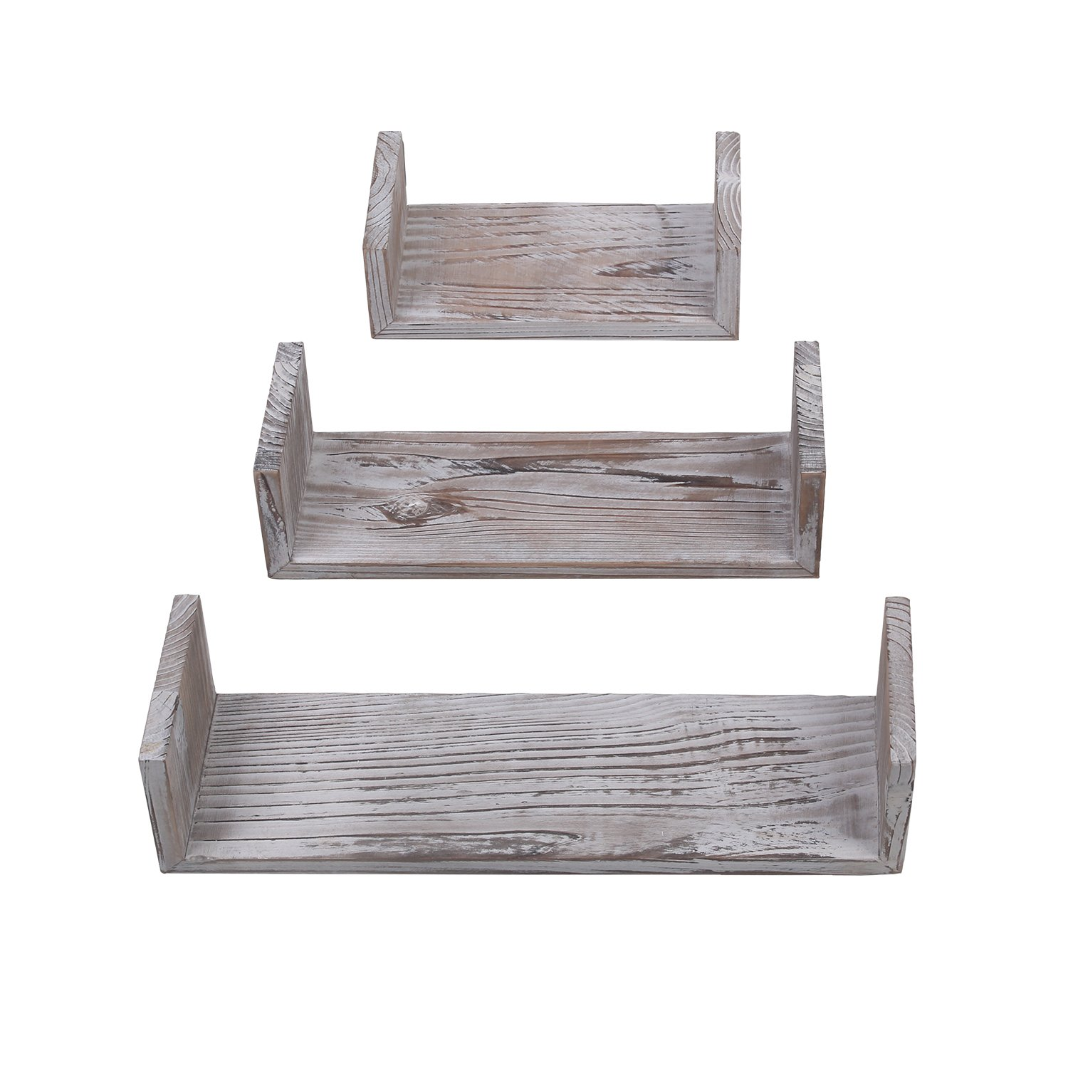 Yankario Rustic Floating Shelves Wall Mounted Set of 3, Torched Wood Farmhouse Storage Shelf for Bathroom, Kitchen, Bedroom, Living Room, Office and More
