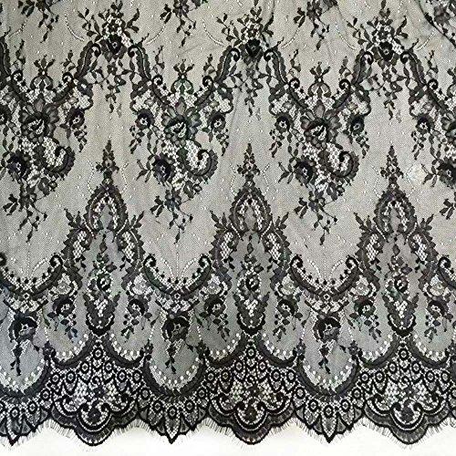 (59 Inch Wide Eyelash Lace Trims Fabric Dress Skirt Extender Edge Bridal Veils Wedding/Evening Dress Garment Supply In Black Pack of 3 Yards)