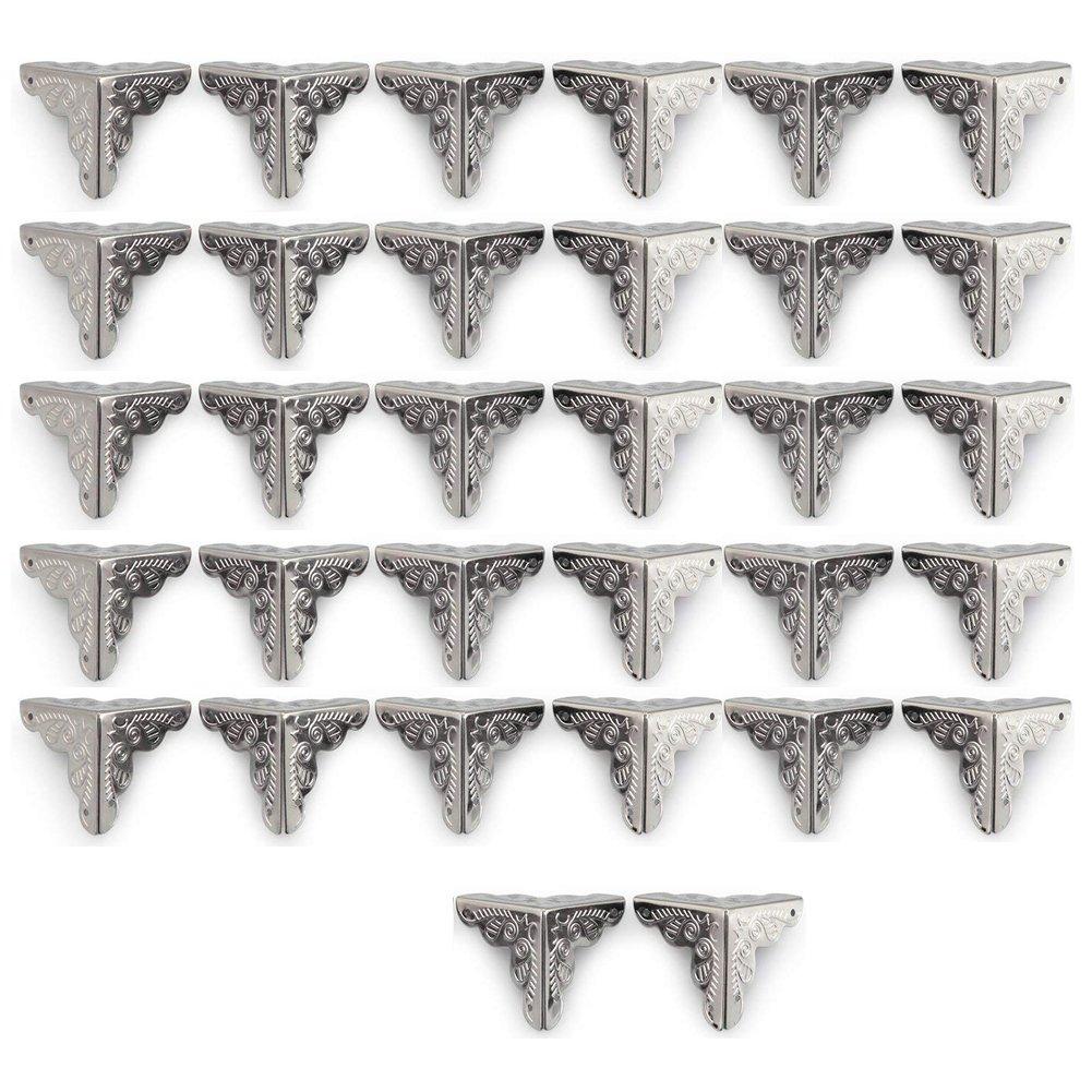 32 piezas 25 mm plata envejecida esquina protector caja de madera muebles mesa esquina decorativa Paor