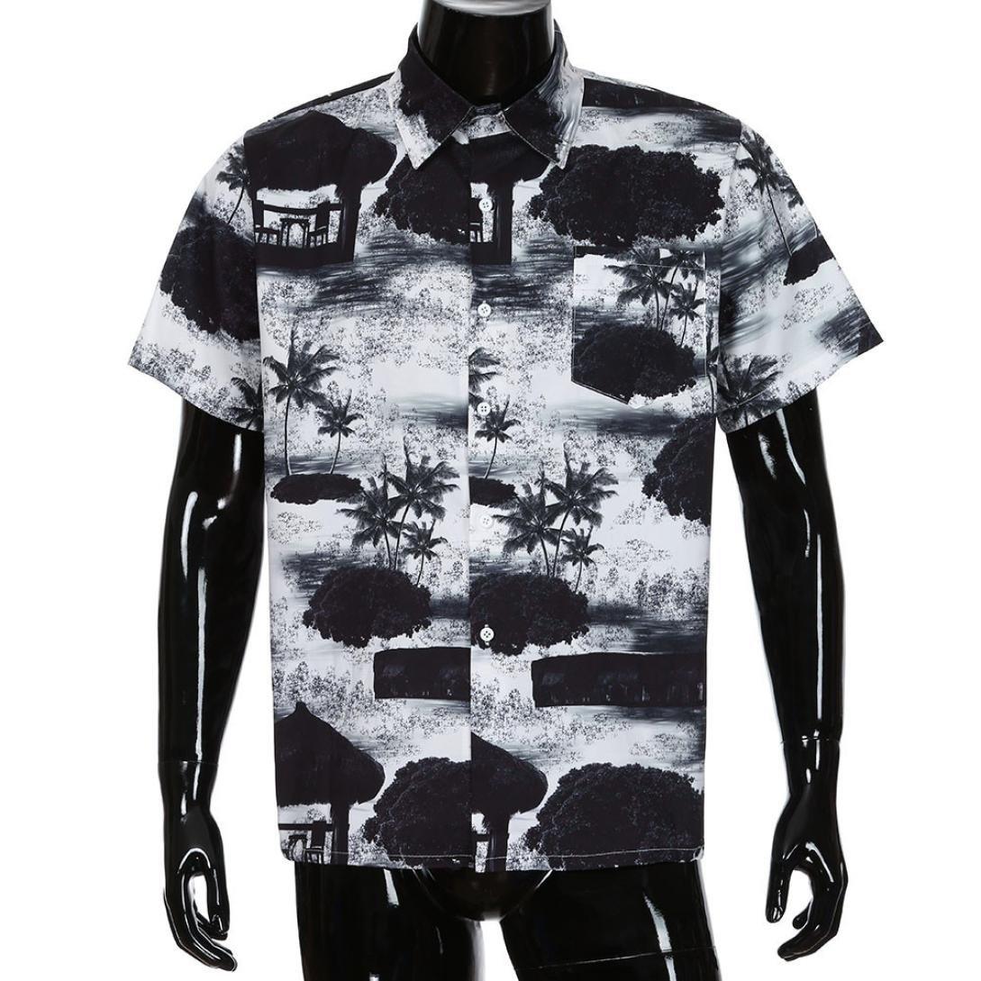 Men Short Sleeve Shirt,Vanvler Male { Floral Hawaiian Shirt } Front-Pocket Blouse Top (S, Black)