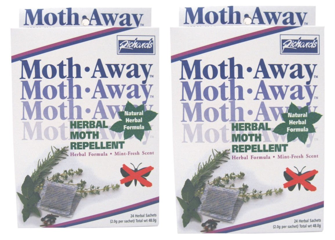 Safe HERBAL Moth AWAY repellent NON toxic NATURAL repellent: 24 count, pack of 2. Richards RHW-200-TWO-BOX