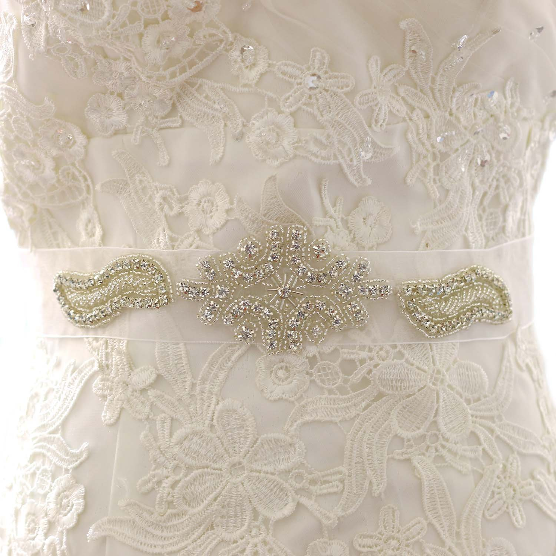 Aukmla Bridal Wedding Belt and Sash with Rhinestones for Women