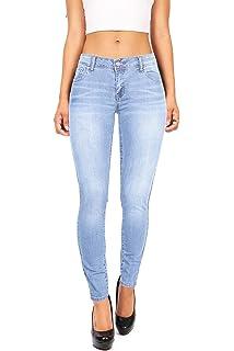 547087499243e JOFOW Womens Pencil Jeans Cowboy Denim Pants Acid Wash High Waisted ...