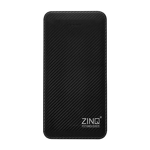 Zinq 10000mAh Li-Polymer Power Bank with 12W Fast Charge Type C & Micro USB Input ZQ10KPC (Black)