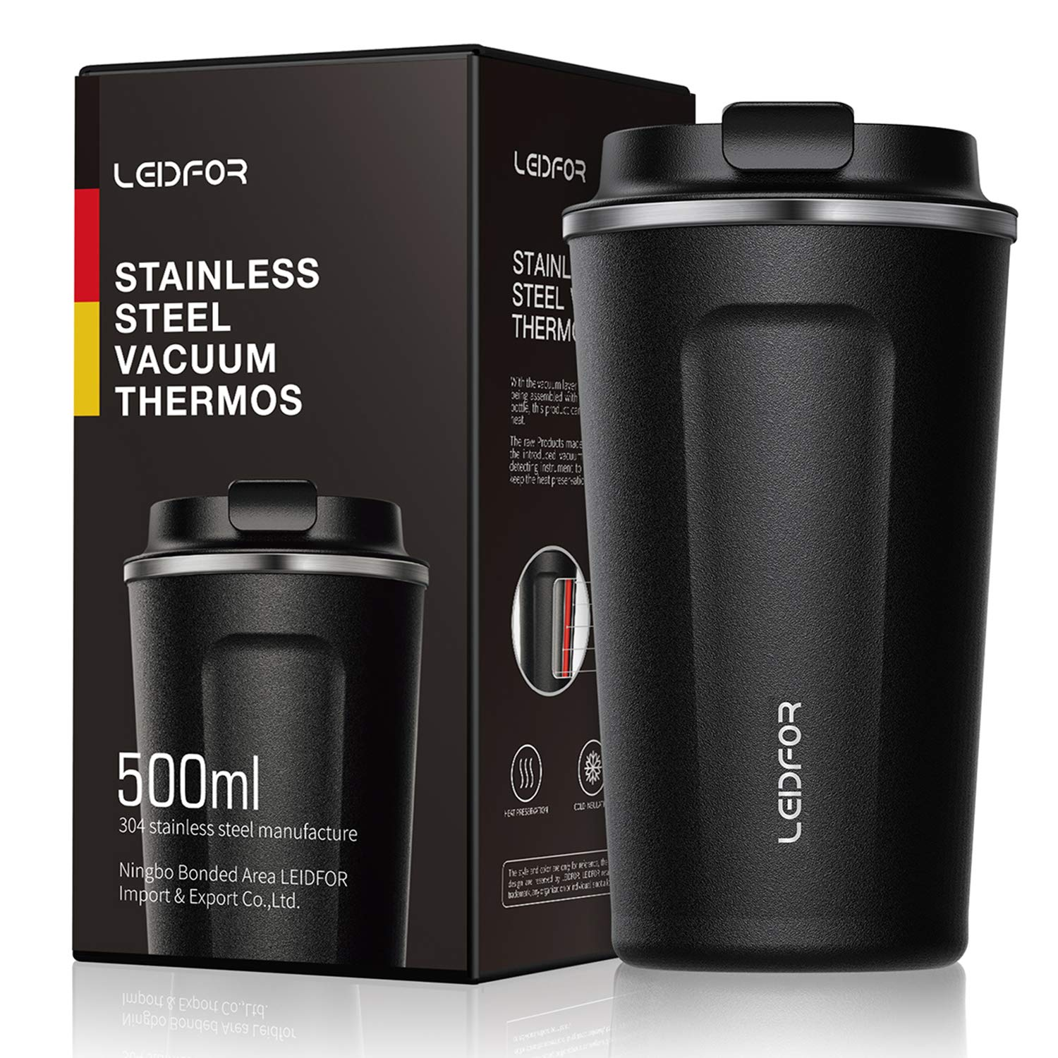1921c502e62 Leidfor Insulated Tumbler Coffee Travel Mug Vacuum Insulation Stainless  Steel with Lid Leak Proof 17 oz Black: Amazon.ca: Home & Kitchen