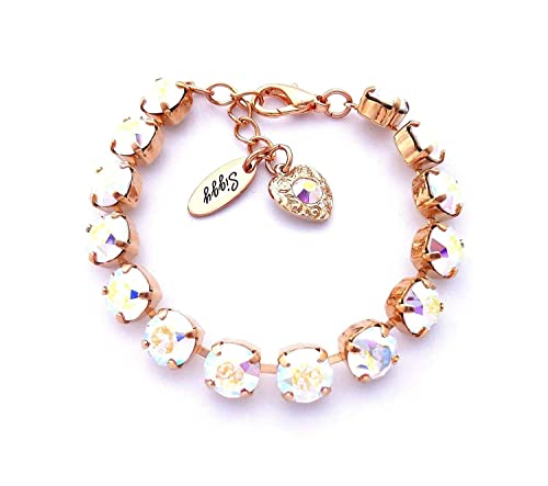 Swarovski Crystal Bracelet, 8mm Iridescent Crystal AB, Shimmering Rainbow  of Colors, Bridal, Bridesmaids, Assorted Finishes