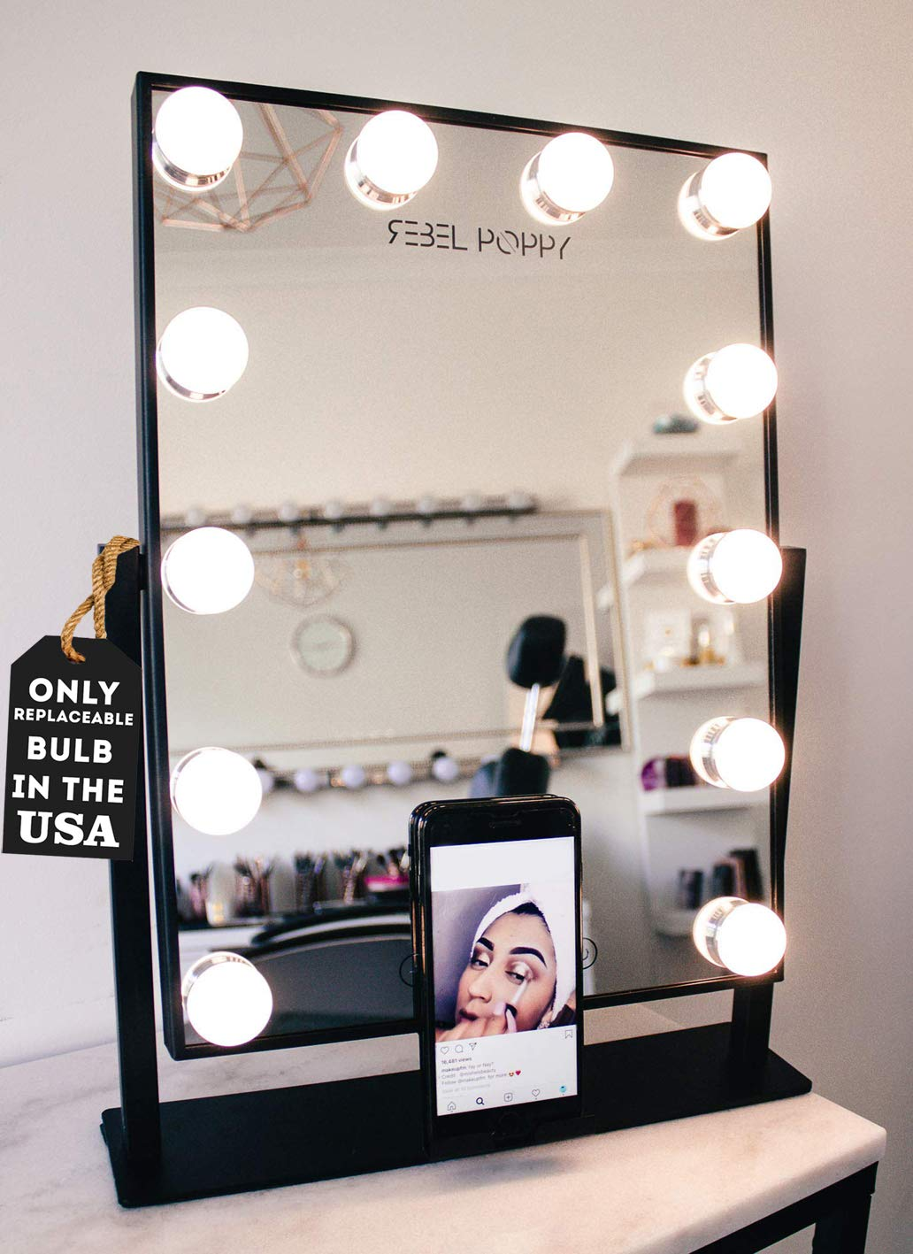 REBEL POPPY Vanity Mirrors with LED Lights – Phone Mount, 3 Lighting Touch Control, 18.5 x 14.8 , Fogless – Hollywood Lighted Makeup Mirror – Black