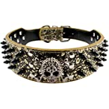 Beirui Spiked Leather Dog Collar - 3 Rows Bullet Rivets Studded PU Leather - Cool Skull Pet Accessories Best Choice for Mediu