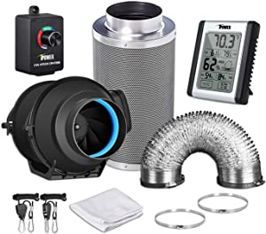 """iPower GLFANXEXPSET4D8CHUMD 4 Inch 150 CFM Inline Carbon Filter 8 Feet Ducting with Fan Speed Controller and Temperature Humidity Monitor and Grow Tent Ventilation, 4"""" Kits, Black"""