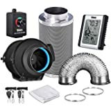 iPower GLFANXEXPSET4D25CHUMD 4 Inch 150 CFM Inline Filter 25 Feet Ducting with Fan Speed Controller and Temperature Humidity