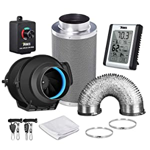 """iPower GLFANXEXPSET4D25CHUMD 4 Inch 150 CFM Inline Carbon Filter 25 Feet Ducting with Fan Speed Controller and Temperature Humidity Monitor and Grow Tent Ventilation, 4"""" Kits, Black"""