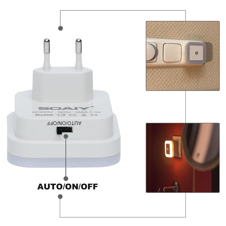 Soaiy Juego de 4 LED Luz nocturna con sensor de movimiento crepuscular Auto/on/off bajo consumo enchufe Luz PIR Sensor Lámpara de orientación Luz Blanco ...