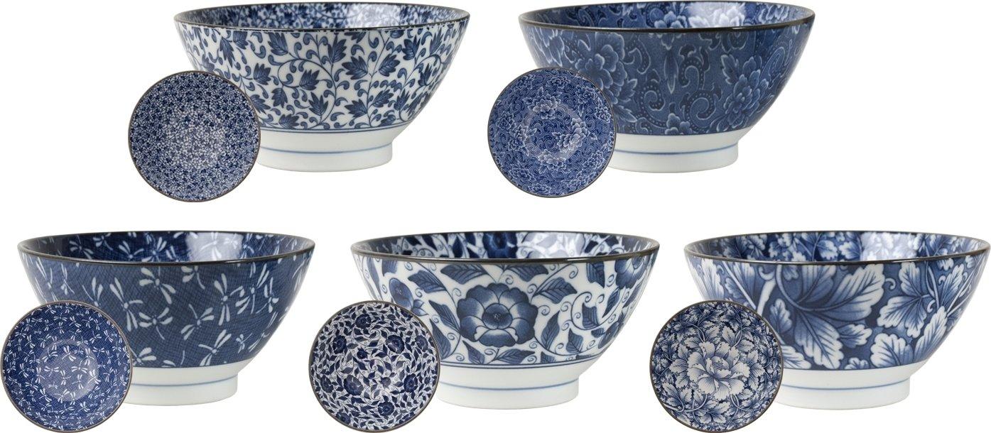AAF Nommel ®, 5 japanische Reis Schalen Ø 18cm Japan Porzellan Set in 5 verschiedenen Dessins, Nr 85, Weiß blau