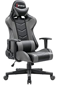Devoko Ergonomic Gaming Chair Racing Style Adjustable Height High-Back PC Computer Chair with Headrest and Lumbar Support Executive Office Chair (Grey)
