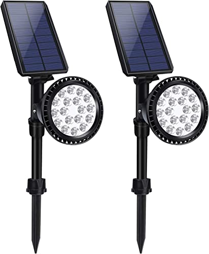 LITSPOT 2 Pack 18 LED Solar Powered Landscape Auto On Off Lights Waterproof Black Outdoor Integrated 600 Lumen Dusk-to-dawn Path lights with Remote Solar Panel for Garden Trees Driveway Cool White