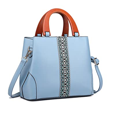 45f1507cd4d4 Miss Lulu Embroidered Stripe Panel Handbag Fashion Wooden Grab Handles Top  Handle Bag Elegant Women Classical