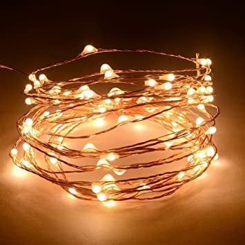 Outdoor Star Lights 20Ft/6M 120 LED Warm White LED Lights On Copper Wire For