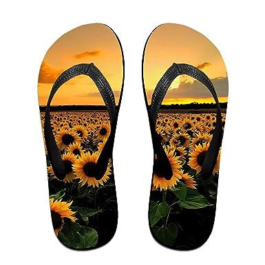 c3cbe0d33 Couple Slipper Sunflowers Sunshine Print Flip Flops Unisex Chic Sandals  Rubber Non-Slip Spa Thong