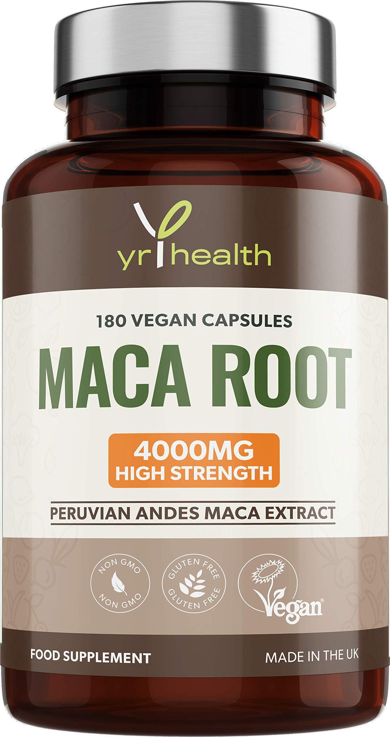 Maca Root Capsules 4000mg - 180 Vegan High Strength Peruvian Black Maca Root & Yellow Maca Extract Capsules - Made in the UK by YrHealth