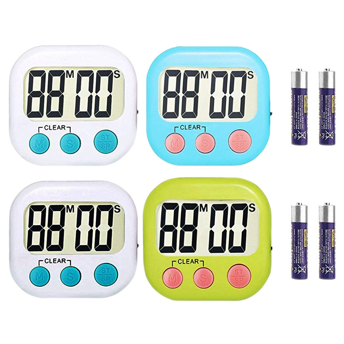 RUNTIM 4 Pack Digital Kitchen Timer, Cooking Timers, Large Display, Strong Magnet Back Stand, Loud Alarm, Minute Second Count Up Countdown for Cooking Baking Sports Games Kids, AAA Batteries Included