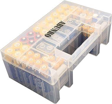 Caja organizadora de baterías, 60 Unidades, diseño actualizado, Pilas AAA AA de 9 V, Caja de Almacenamiento con Capacidad para 60 Pilas, Varios tamaños: Amazon.es: Electrónica