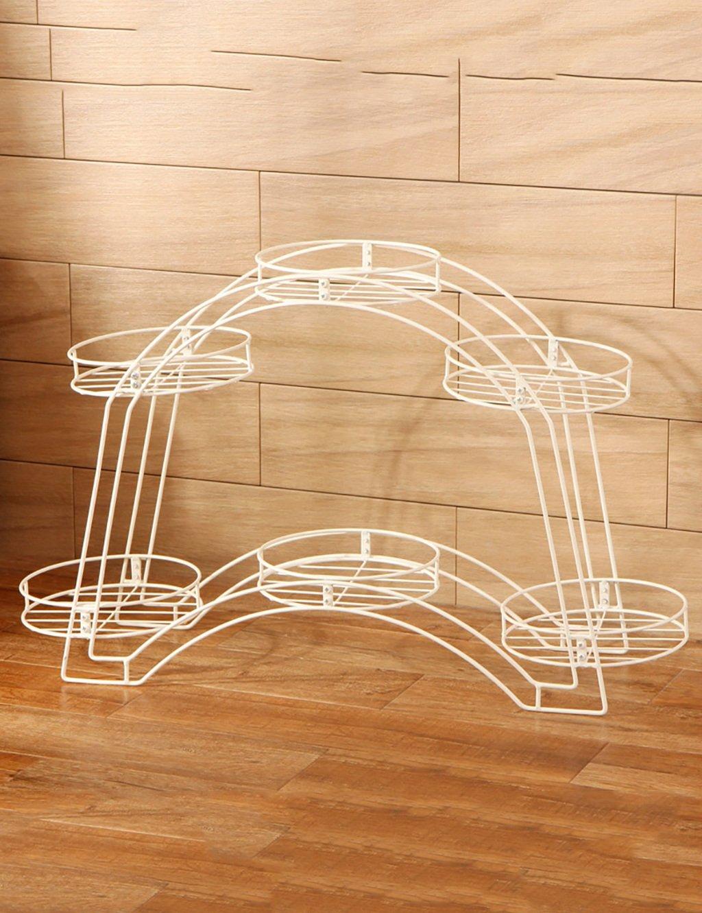 Europäische Art-Eisen-Bogen-Blumen-Zahnstange-Balkon Doppelte Schicht-Blumen-Topf-Feld-Wohnzimmer-Fußboden-Art-Blumen-Zahnstange