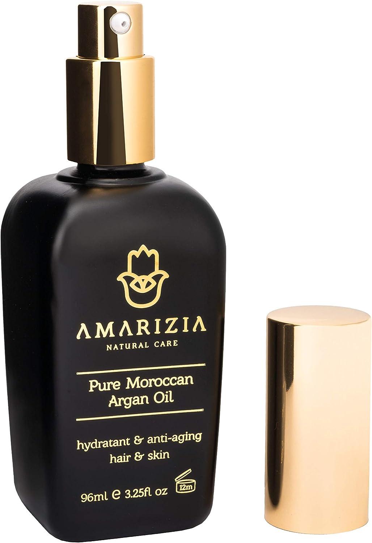 AMARIZIA Aceite de Argán Puro de Marruecos / 100% Orgánico y prensado en frío / Vegano y Cruelty-Free / Hidratante para el pelo, para la piel, cara, barba y uñas / Antiedad y antiarrugas.